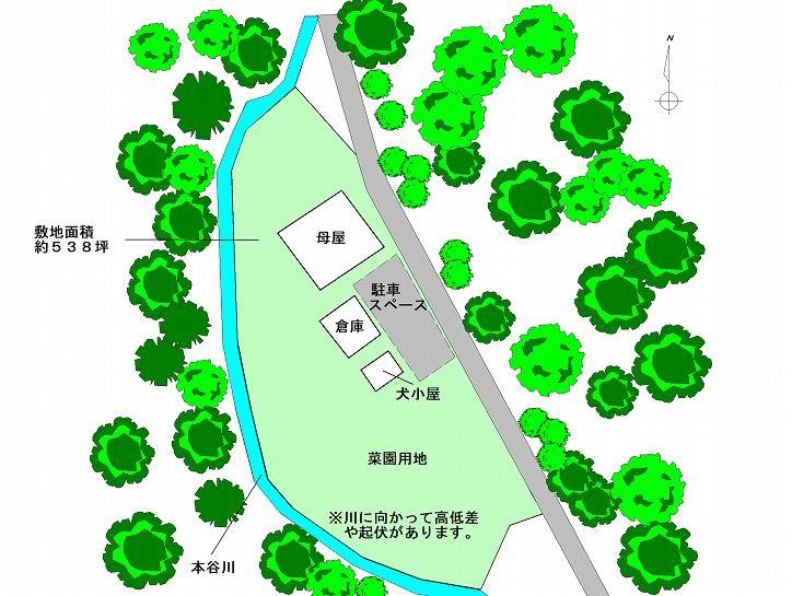 京丹波町水吞久保田ウッディハウスの敷地見取り図