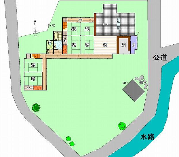 滋賀県長浜市野瀬町再生古民家の敷地見取り図