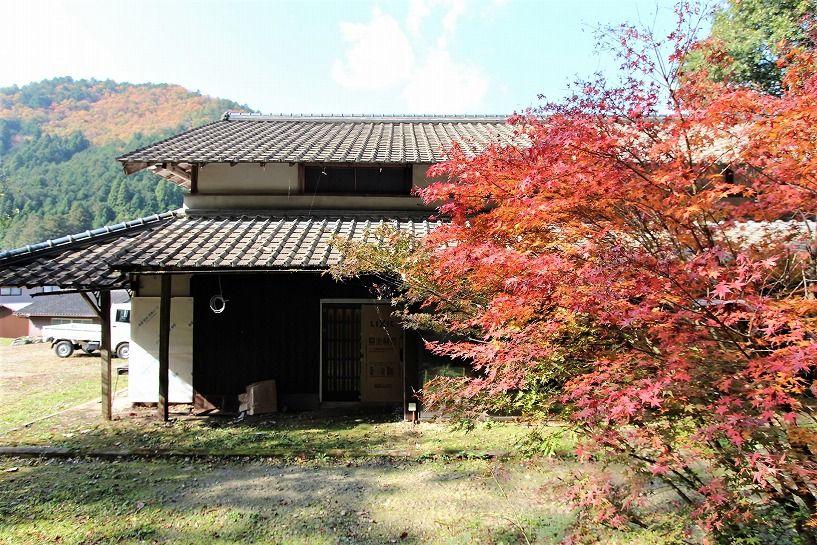 京丹波町妙楽寺石原古民家の紅い紅葉
